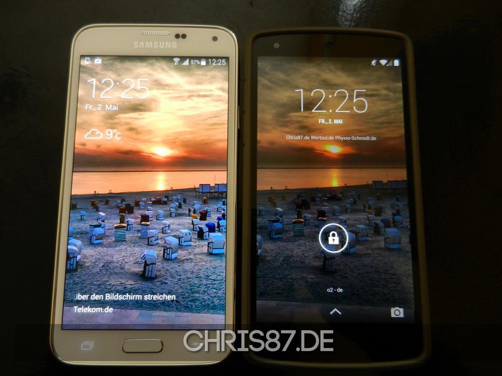 Größenvergleich Samsung Galaxy S5 vs. LG Nexus 5